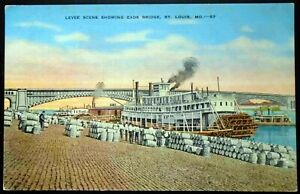 Hold-To-Light Postcard St. Louis Levee Scene on