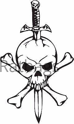 Skull /& Sword Sticker 60cm x 36cm Graphic All Colours Vinyl Decal Skull032
