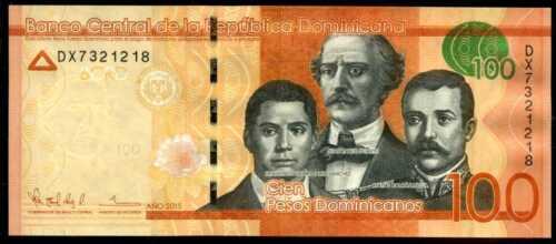 DOMINICAN  REPUBLIC 100 PESOS  2015  P 190  PREFIX DX  Uncirculated