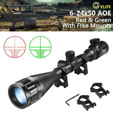 Cvlife 6-24x50 aoe Rifle Scope Red & Green Mil-dot Illuminated Optics Hunting