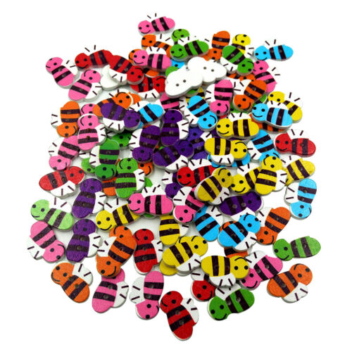 50 Stück bunte Holzknöpfe süße kleine Biene dekorative Nähen Knöpfe 2