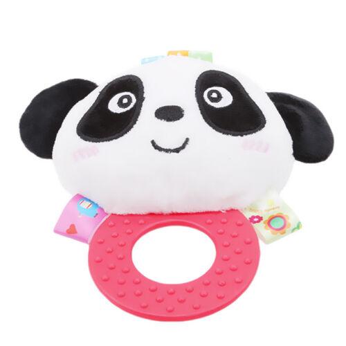 Animal Panda Monkey Lion Baby Hand Hold Plush Bell Rattle Squeaker Toys N7
