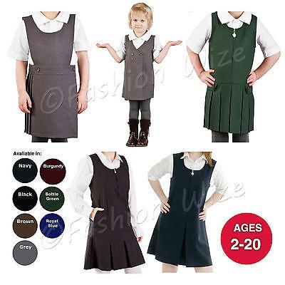 PLEATED PINAFORE DRESS SCHOOL UNIFORM GIRLS KIDS BLACK GREY NAVY GREEN ALL SIZES