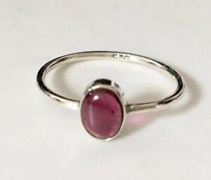 Sterling Silver Garnet Ring Gemstone Stack Stackable Size 5 6 7 8 9 10 11 12