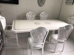 Silver Italian High Gloss Dining Table