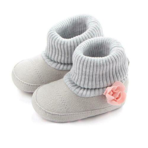 Newborn Baby Girl Flower Warm Boots Booties Infant Toddler Snow Slippers 0-18M