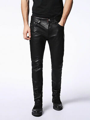 Leather Jeans Men s Pants Straight Rock Revival Legging Slim Lambskin Black 40