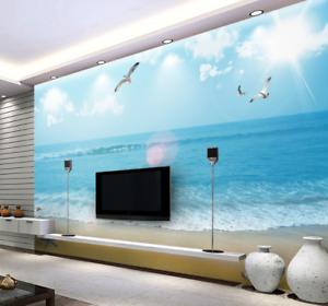 Papel Pintado Mural De Vellón Playa Playa Vellón De Pájaro De Sol 2 Paisaje Fondo De Pantalla 296701