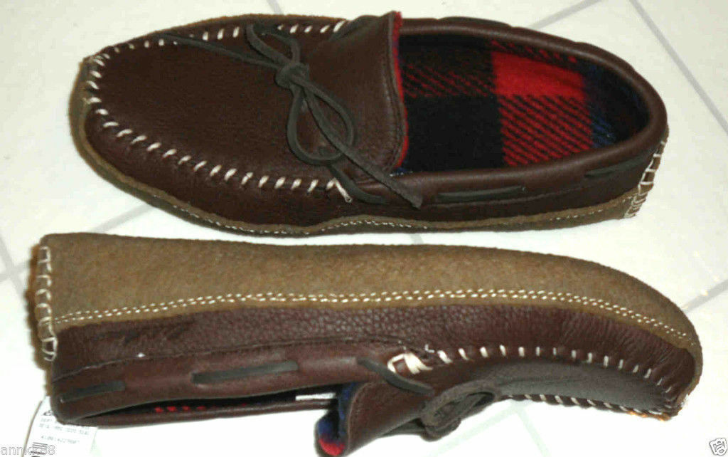NWT Eddie Baure Mens Slipper Moose Moccasins Dark Brown Size 8-10