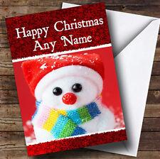 Big Eyed Snowman Christmas Greetings Card Personalised