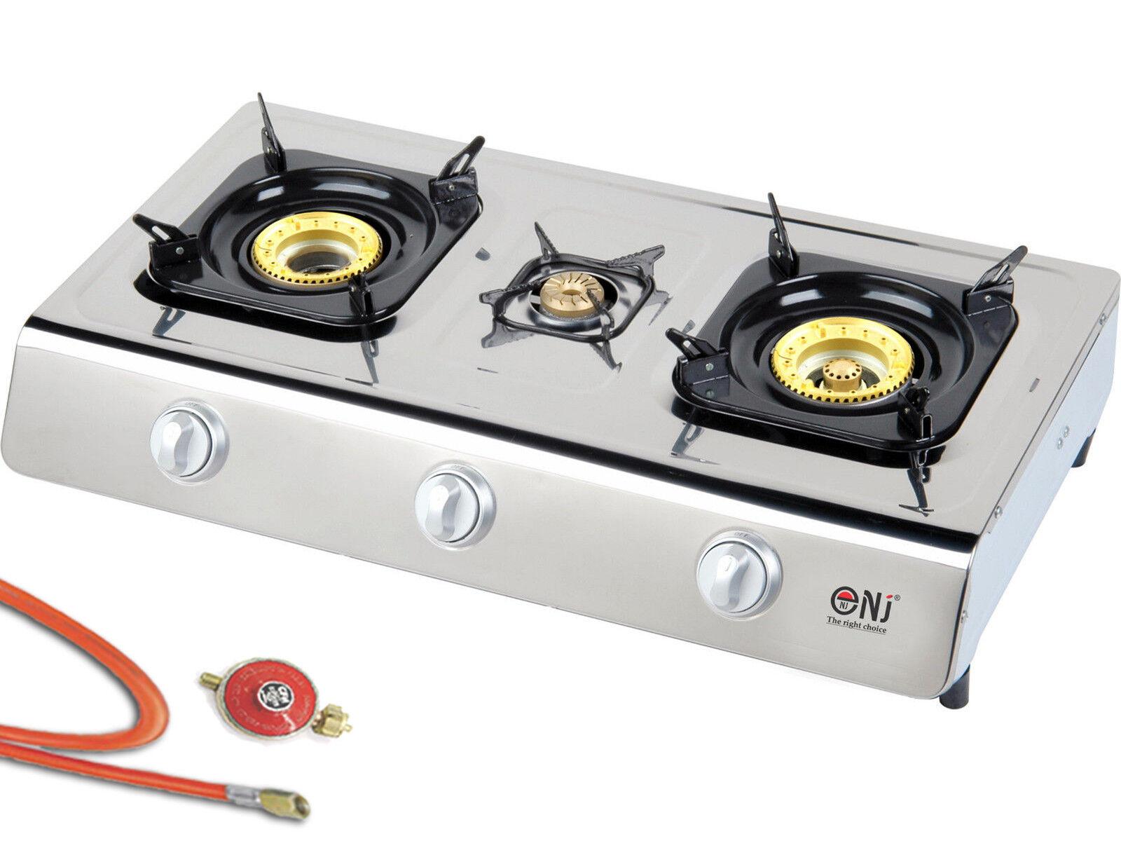 FORNELLO in acciaio inox 3 bruciatori 10 KW vetroceramica Fornello Campeggio SGABELLO WOK Fornello Nuovo