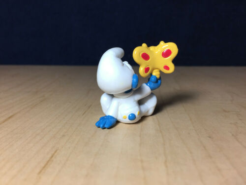 Figurine smurf smurf schleich 20218 le bebe with yellow butterfly