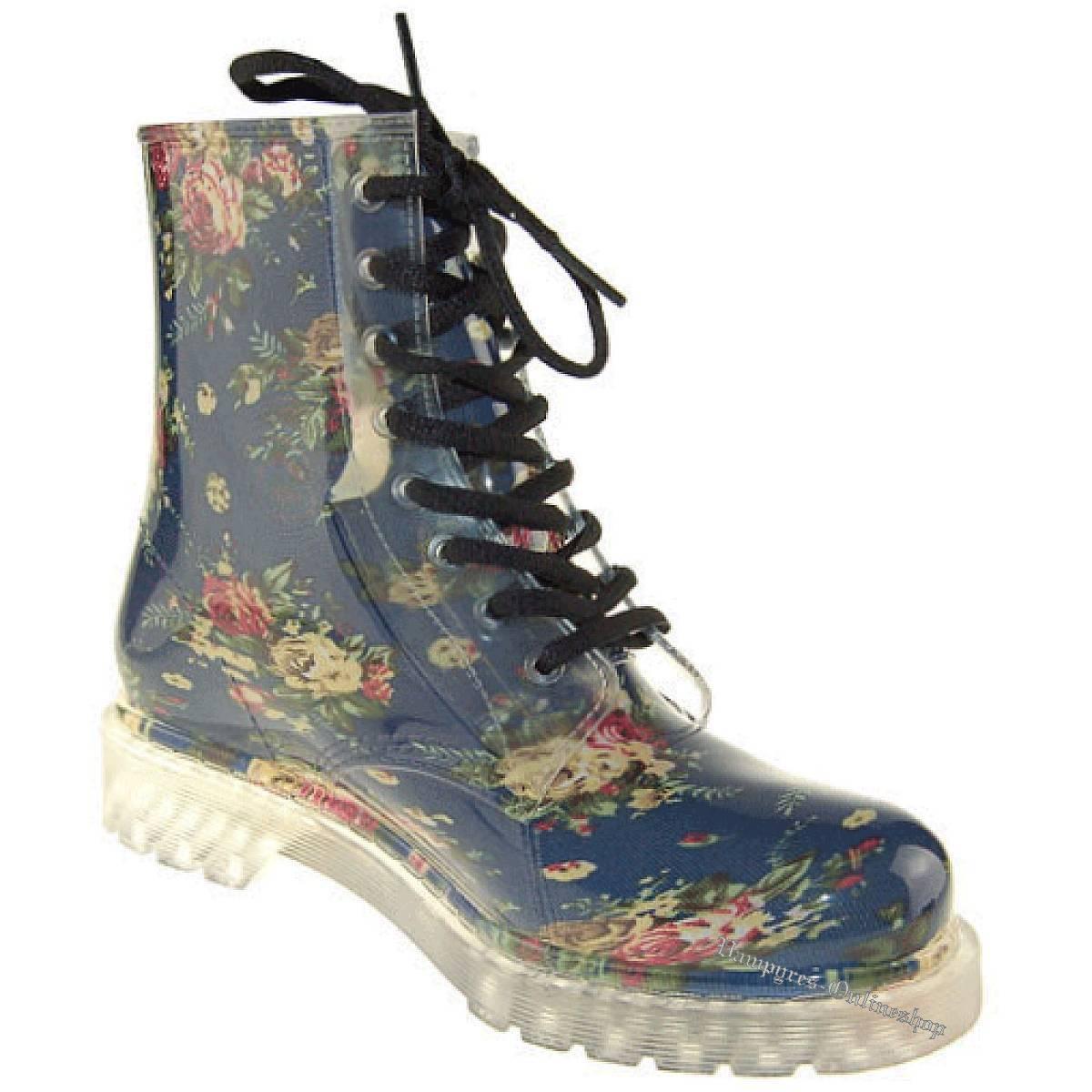 Silicone Valley Flowers Rain Boot 8-Loch Blau Gummistiefel Blumen Neu