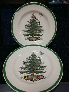Dinner-Plate-Spode-Christmas-Tree-10-1-2-034-S3324-Made-in-England-2-Units