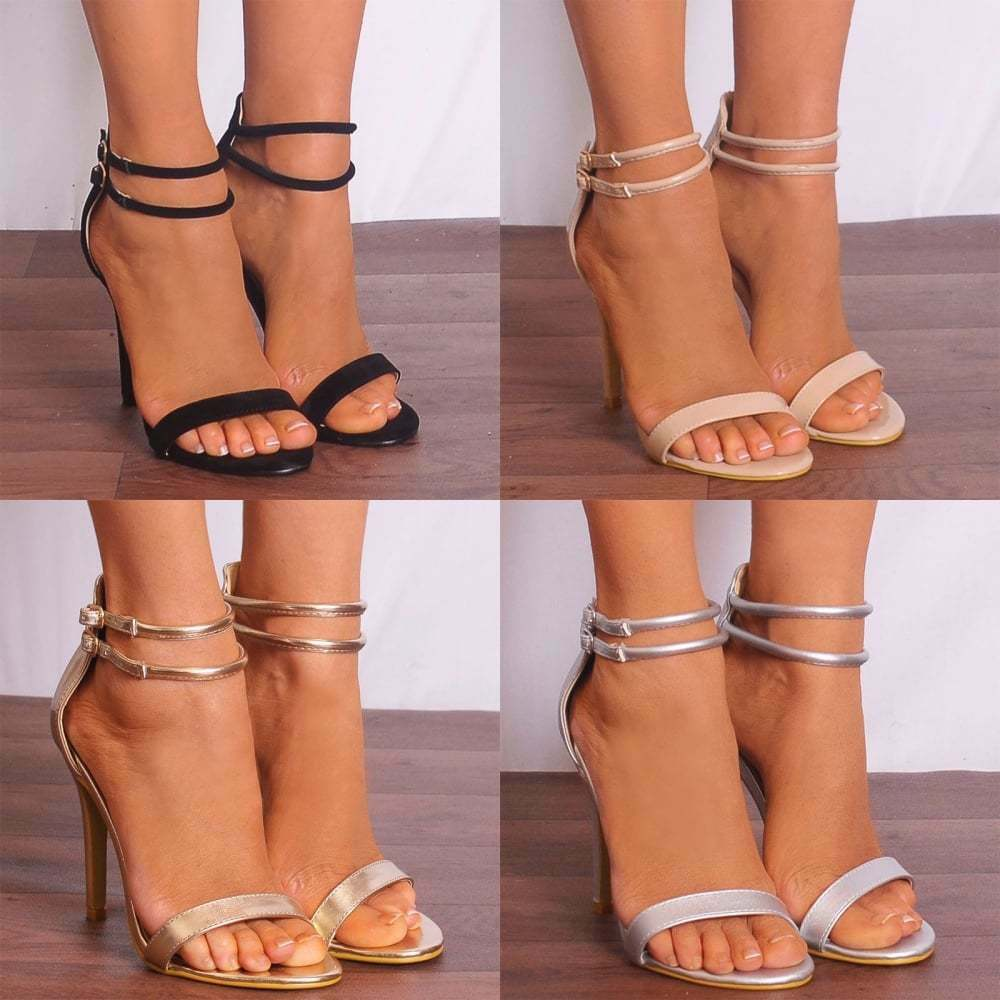 BARELY STRAPPY THERE STILETTOS PEEP TOES HIGH HEELS STRAPPY BARELY SANDALS ANKLE STRAP SIZE 3eece0