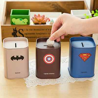 Saving Box Piggy Bank Captain Transformers Superman Coin Money Box for Kids Gift