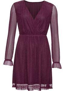 Kleid mit Glitzereffekten Gr. 50 Beere Damen Cocktailkleid ...