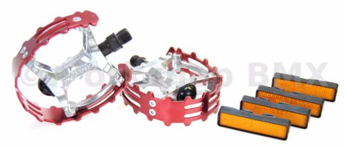 """FOR 3 PIECE CRANKS RED Old school BMX XC-II Wellgo bear trap pedals 9//16/"""""""