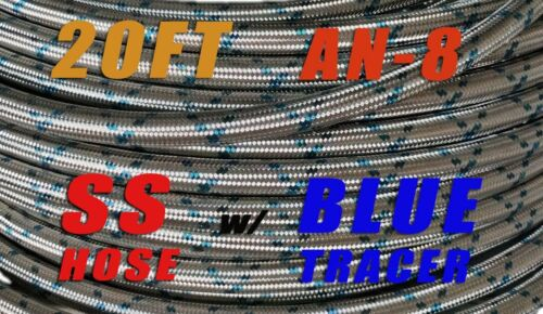 STAINLESS STEEL Blue Tracer BRAIDED 8an AN8 OIL GAS FUEL LINE HOSE 20FT