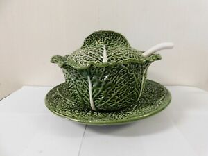 Bordallo Pinheiro Cabbage Leaf Soup Tureen Ladle Under Plate Set Portugal Ebay