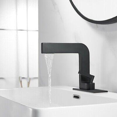 Matte Black 1 Hole Waterfall Single Handle Bathroom Sink Faucet With Escutcheon 656699580332 Ebay