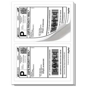 BEST QUALITY 1000 SHEETS FAST 2000 Paypal SHIPPING LABELS 2 PER PAGE 8.5x5.5