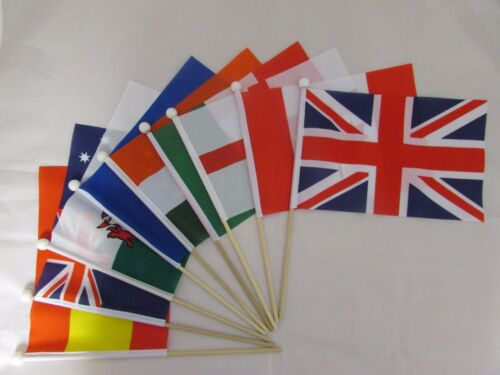 "SWITZERLAND SWISS Handwaving Flag 9/"" x 6/"" Polyester Flag 12/"" Wooden Pole"