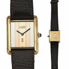 Tri-Color Must de CARTIER Paris TANK-Vermeil 925 Authentic Watch Unisex