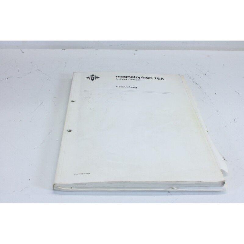 Telefunken M15A Multitrack recorder Manual (GERMAN)