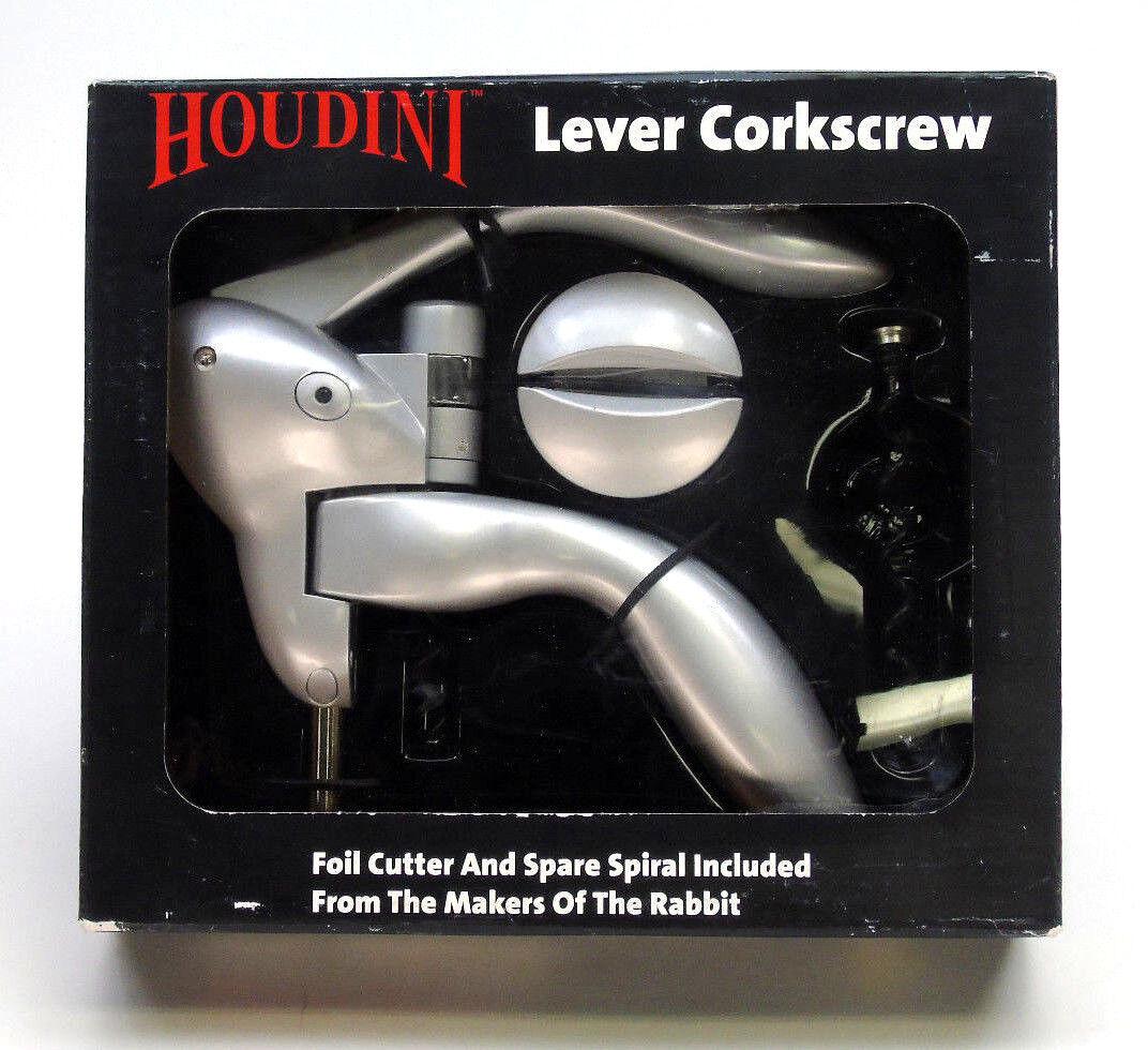 Houdini Lever Corkscrew Silver Wine Bottle Opener Cork Remover Metrokane 9706