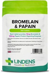 LINDENS-Bromelain-amp-Papain-100-Tablets-Protein-Digesting-Enzymes