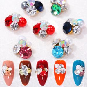 colorful small flower 3d nail rhinestones pearl nail art