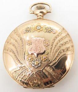 C-1901-Waltham-14K-Multicolour-Gold-17-Jewel-Men-039-s-16s-Pocket-Watch-Serviced