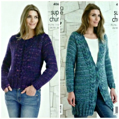 KNITTING PATTERN Ladies Long Sleeve Cable Jumper /& Jacket Super Chunky KC 4068