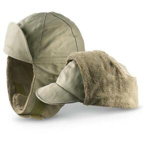 75199127ba1 Genuine German Army Military Winter Pile Cap Olive drab OD hat warm ...
