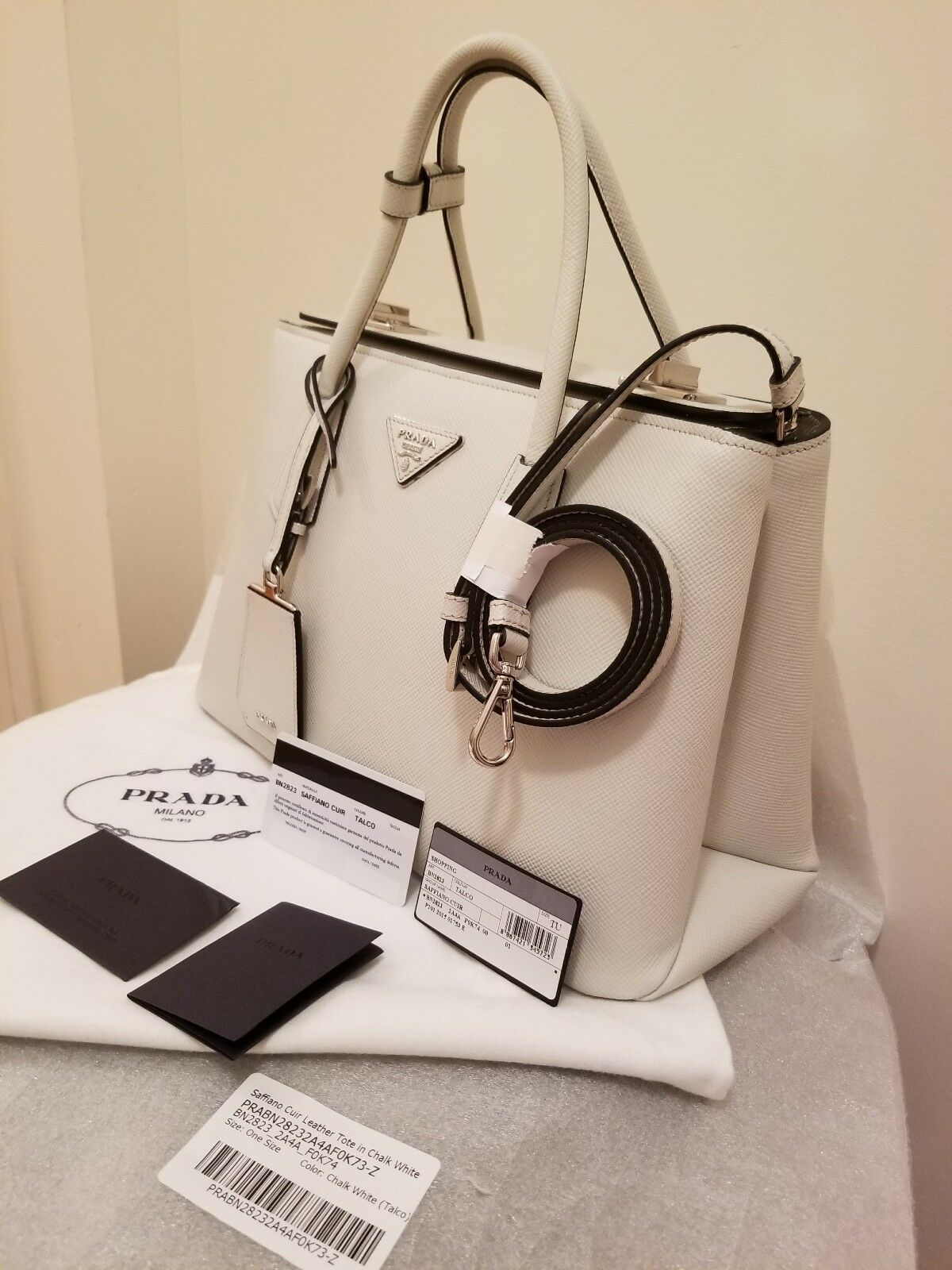 0ad0fd52c3a4 PRADA Saffiano Cuir Leather Tote in Chalk White Bn2823 for sale ...