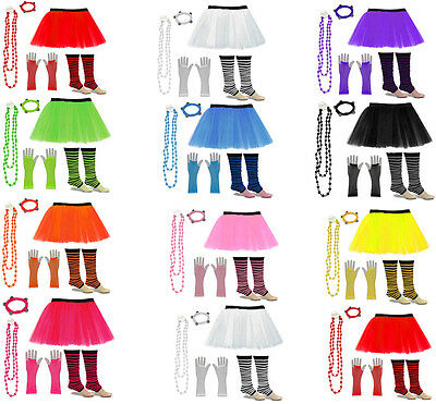Neon Uv Tutu Gloves Leg Warmers Beads 80s Fancy Dress Hen Night Party Size 6-26