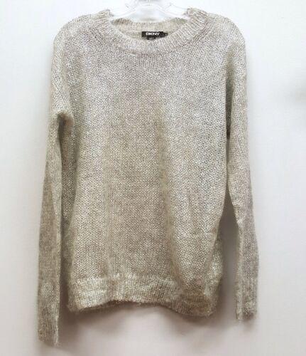 Mohair Loose S Uld Size Sweater Strikket Sølv Crewneck Pullover Dkny Langærmet awtXPTqxX