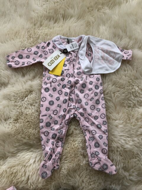 cfe9342e34cf KENZO Baby Toddler Tiger Romper Set Pink 3m 3 Months One Piece Outfit