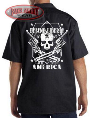 DEFEND LIBERTY ~ Skull /& Crossbones Mechanics Work Shirt ~ Land of Free ~ GUNS