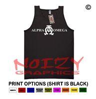 Alpha & Omega 2 Christian Tank Top Jesus Religious Shirt Black Rock Faith Fish