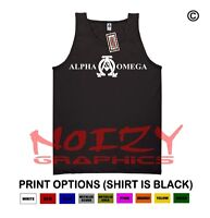 Alpha & Omega 2 Christian Tank Top Jesus Religious Shirt Black Rock Faith Fish