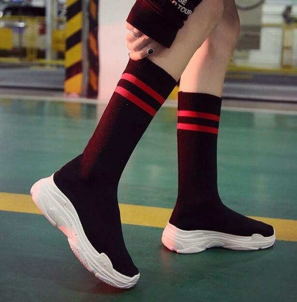 Womens Stylish Striped Mid Calf Sock Boots Elegant shoes New Stretchy Sneaker