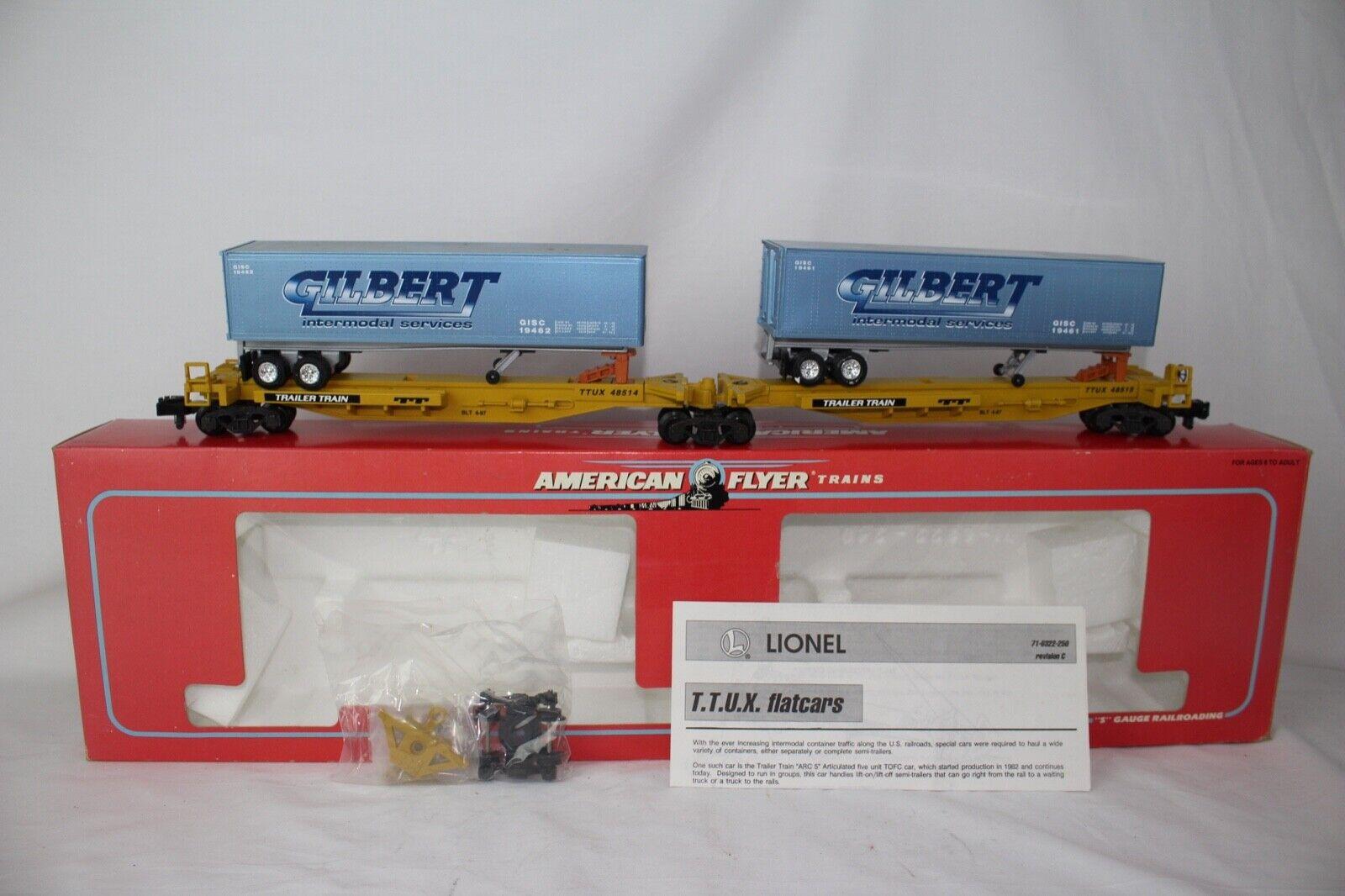 American Flyer S Calibre  6-48514 Gilbert Intermodal Ttux Trailer Tren Set ,Caja