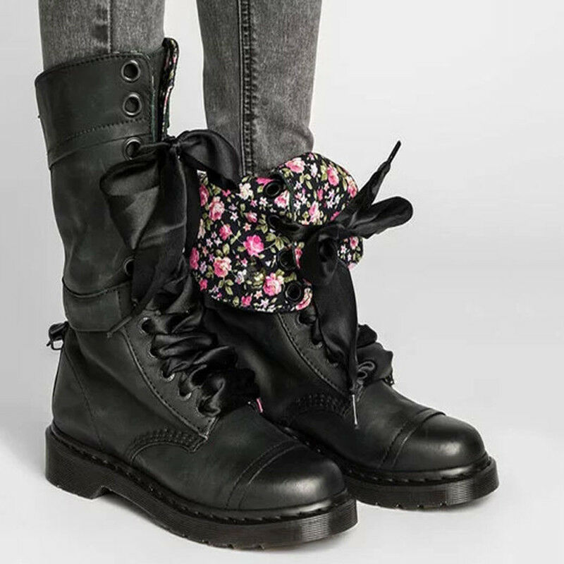 Boots Winter Women's Floral Inside Warm Flap Mid Calf Ankle shoes Martin Vintage