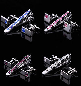 Hombre-Cristal-Cromo-Plata-Acero-Inoxidable-6-0cm-Clip-BARRAS-CON-SET-DE