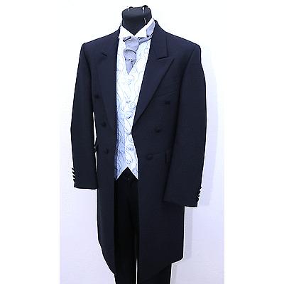 BOYS NAVY HERRINGBONE FROCK COAT 100/% WOOL WEDDING DRESS SUIT MJ-129 MENS