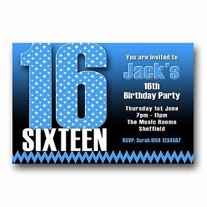 Image Is Loading Personalised BOYS Amp GIRLS 16th Birthday Party Invitations