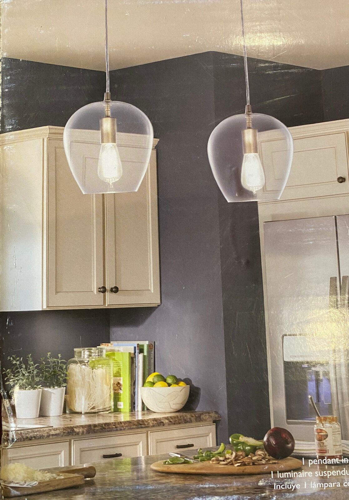 Allen + roth Brushed Nickel Pendant Light French Country Cottage Clear Glass Bel
