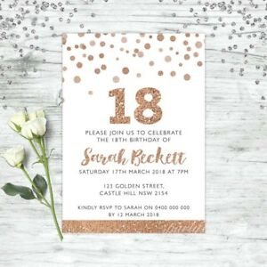 Image Is Loading 18TH BIRTHDAY INVITATIONS ROSE GOLD PARTY PERSONALISED